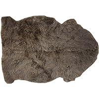 tappeto a forma di animale in pelle di agnello CAFFÈ allo stato naturale bruno marrone (Pelle Appartamento Divano)
