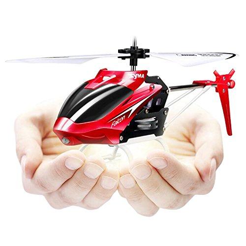 SYMA W25 RC Mini Helicóptero 2.5 Canales con Giro Control Remoto Infrarrojo Helicóptero de Juguete para Exterior /Interior - Rojo