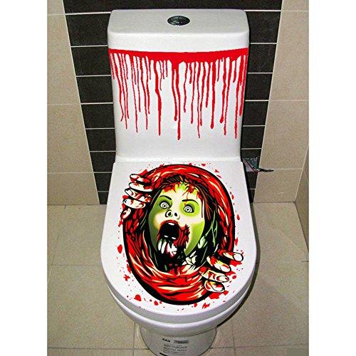 selige Badezimmer WC-Sitz Deckel und Spülkasten Aufkleber Closestool Abdeckung Party Dekoration (Halloween-wc-sitz-deckel)