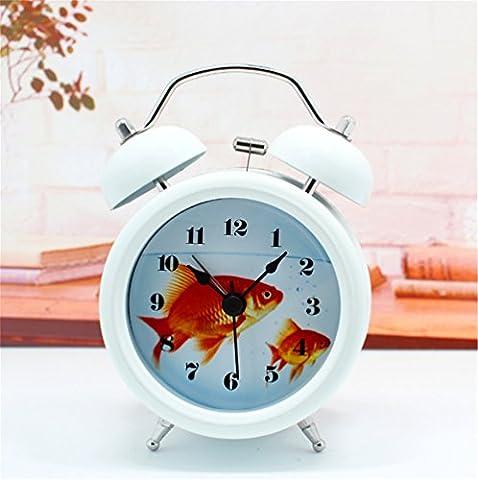 DIDADI Alarm clock Stilvolle und innovative schönes Aquarium Ring die metallischen Alarm Tabelle Aquarien von kleinen Goldfisch desktop Nachtmodus der Uhr 12 cm