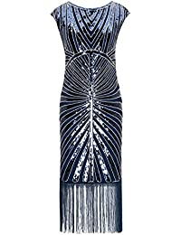 Metme Womens 1920s Classic Long Beaded Cocktail Party Dress Fringe Embellished Cocktail Gatsby Party