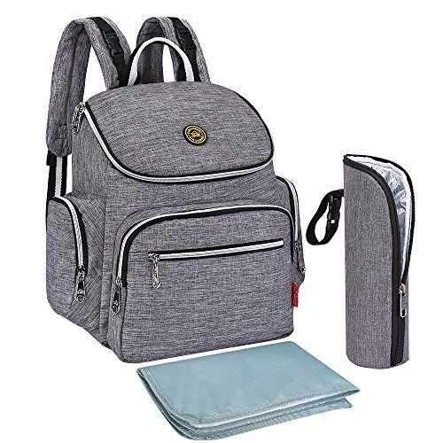 S-ZONE Oxford Multi-function Baby Diaper Bag Backpack with Changing Pad and Portable Insulation Pocket Pocket (Grey)