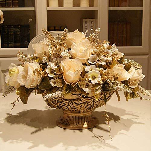 Aczz piante artificiali floreali - rosa finta con vaso in ceramica per decorazioni per feste da casa in ufficio da tavolo, e,c