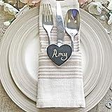 Herz-Miniatur-Tafel aus Holz, ideal für Hochzeitstischkarten und Dekorationen im Retro-Stil, schwarz, 55mm x 45mm