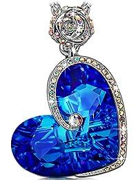 """J.NINA """"Afrodita"""" Collar Mujer del Diseño del Corazón del de fabricados con cristales SWAROVSKI® Grabado con """"Te amo"""" Collar De las Mujeres, el Mejor Regalo para la Mujer y las Muchachas"""