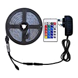 WenTop RGB LED Strip Lights Kit,Non-Waterproof 5m LED ribbon,SMD 5050 16.4 Ft(5M) 150 LEDs DC 12V RGB LED Strip with Power Supply and 24key Remote,Multi-coloured LED Tape for TV Backlight and Kitchen Cabinet lighting