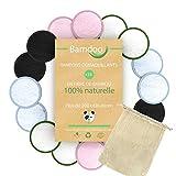 Bamdoo | Cotons Démaquillants Lavables | 16 PCS + Sac de Lavage | Tampons Démaquillants en Bambou Réutilisables | Fibres de Bambou BIO Naturelle | Lingette bebe lavable