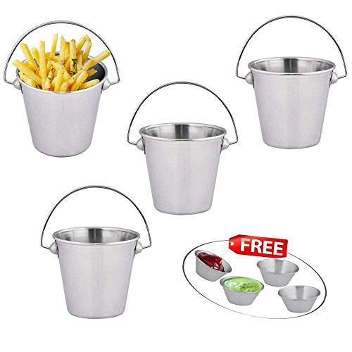 Kosma Set mit 4 Pc Edelstahl Pommes Chips Körbe | Eimer | Restaurant, das Gericht | Snacks Schaufel - 10 x 10 cm mit 4 PC-Sauce Cup 1.5Oz