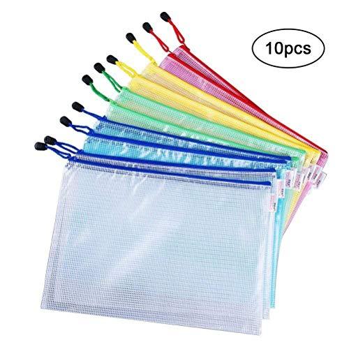 Vicloon Borse di File ,A4 Sacchetto di Zip Impermeabile Mesh Sacchetto del Documento per Uffici Cosmetici Forniture Accessori da Viaggio,5 Colori (10pcs)