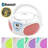 Lauson CP451 - Lettore Portatile CD, USB, Radio AM / FM, MP3, SD-Card, AUX IN, Bianco (Multicolore)
