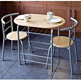 New 3pc Dining Set 2 Chairs and Table Metal Frame Wooden Seat Beech Furniture