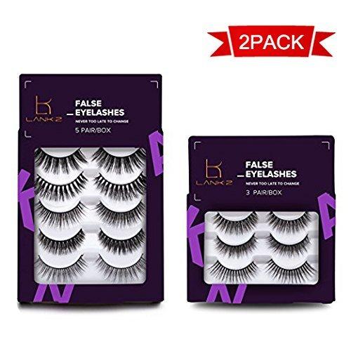Wimpern LK LANKIZ Wimpern Echthaar Mehrfachpackung Künstliche Wimpern 3D Langlebige Natürliche Falsche Wimpern Handgemachte Fake Wimpern 8 Paare / 2 Packungen -
