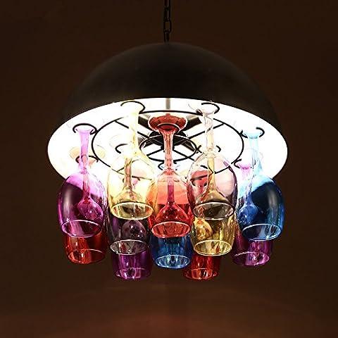 TYDXSD New classic chandelier bar coffee shop creative glass art deco chandelier vintage stained glass chandelier,King 50*50cm