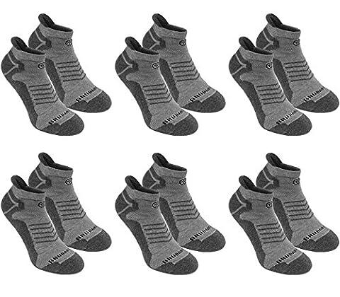 BRUBAKER Chaussettes de sport - Lot de 6 Paires - Talon renforcé et Languette douce - Gris / Gris clair avec logo noir - EU 39-42