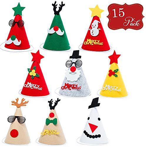 15 Sombreros de fiesta hechos de Fieltro - Gran selección surtida - Ideal para fiestas y ocasiones de Navidad, diferentes colores y diseños.