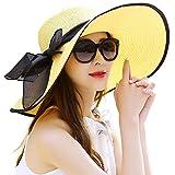 DRESHOW Damen Schlaff Strand Hut für Frauen Große Krempe Stroh Sonnenhüte Aufrollen Packbar UPF 50+