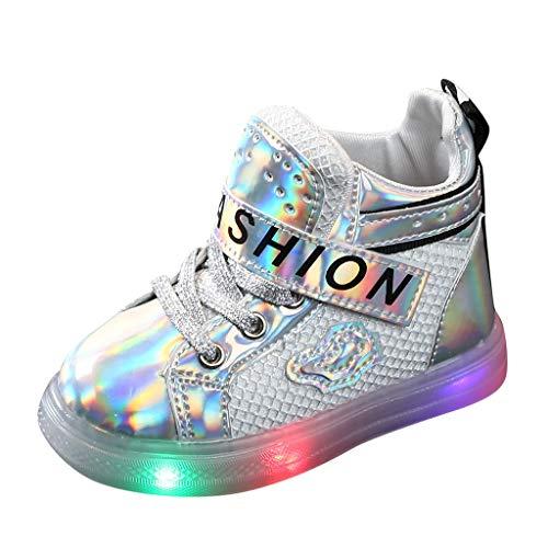 BoyYang Kinder Stiefel Schuhe LED Licht Sequin Babyschuhe Krabbelschuhe Turnschuhe Lauflernschuhe Sneaker Weiche Sohle Lederschuhe Erste Kinderschuhe Kleinkind für Mädchen Jungen (29,Silber)