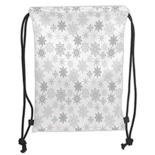 WTZYXS Drawstring Sack Backpacks Bags,Winter,Ornamental Crystals of Ice Freezing Weather in January Cold Artistic Abstract,Grey Silver White Soft Satinring Closu,5 Liter Capacity. Tall Iced Tea