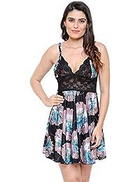 Secret Wish Women's Satin Babydoll Lingerie Nightwear (Free Size) BD_E116