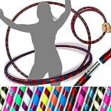 Pro Hula Hoops (UltraGrip/Glitter) Travel Hula Hoop - Fitness Adulte Voyage Pliable Hula Hoop Pondéré, pour Aerobic et Hoop Danse (Diam:100cm, Lesté:640g) (Noir/Rouge Glitter)