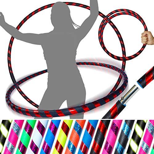 PRO Hula Hoops Reifen für Anfänger und Profis (Ultra-Grip/Glitter Deco) Faltbarer TRAVEL Hula Hoop ideal für Hoop Dance, Fitness Training, Zirkus, Festivals, Aerobic & Fun! (Schwarz Grip/Rot Glitter) - Hula-hoop Glitter