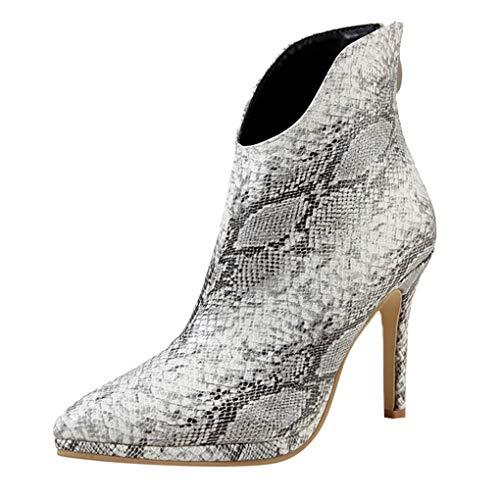 Dorical Damen Classic Stiletto Chelsea Boots Stiefeletten/Frauen Übergroße Spitze Ankle Boots Reißverschluss Schlange Sexy Schuhe Damenstiefel Winterstiefel Gr 35-42(Weiß,42 EU) (Schlange Designer-schuhe)