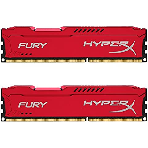 HyperX Fury - Memoria RAM de 16 GB (1600 MHz DDR3 Non-ECC CL10 DIMM, Kit 2x8 GB), Color Rojo