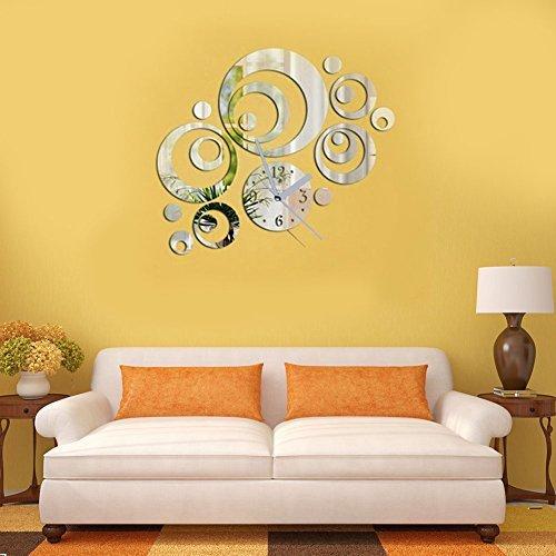 Orologio da parete artistico Demiawaking, con quadrante rotondo, con specchio adesivo in 3D, decorazione fai da te per la casa moderna, colore: nero/argento. Silver