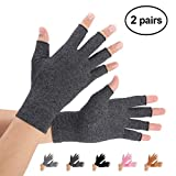 Brace Master Arthritis Gloves 2 Pairs, Compression Gloves Support and Warmth for Hands, Finger Joint, Relieve Pain from Rheumatoid arthritis, Osteoarthritis, Carpal Tunnel, Tendonitis (Gray, XL)