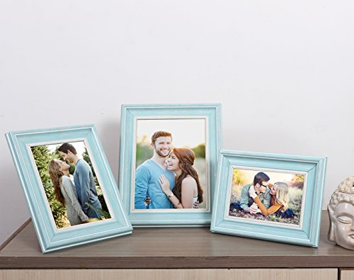 Aqua set of 3 table photo frame mix size 4x6, 5x7, 6x8