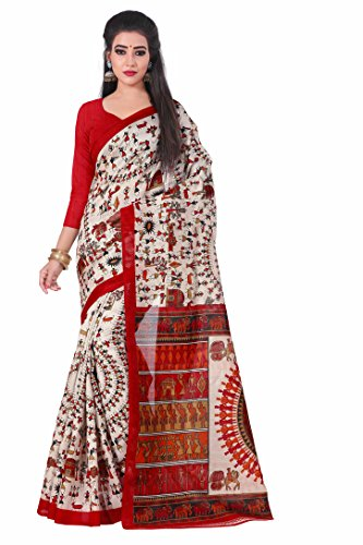 SHS Women's Faux Crepe Sarees (SHS-112_Red & Cream _Free Size)  available at amazon for Rs.222