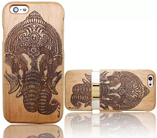 Wooden Case Cover,Vandot Unico Reale Handmade Legno [Naturale WoodBack Lavorato Custodia] Per Apple iPhone 6 6S 4.7 Pollici - [Cranio] Style 11