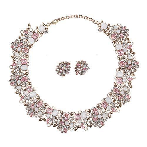 Holylove Damen Statement Halskette Rosa, Costume Schmuck für Damen Neuheit Mode Halskette Ohrringe Armband 1 Set mit Geschenkbox- HL8041B ()