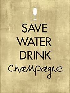 Save Water Drink Champagne A2Word Art Poster Print