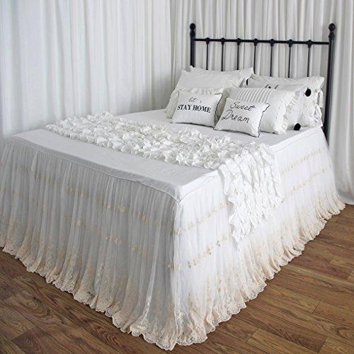 Queen's House Shabby Weiß, Elfenbein Spitze Rüschen Stickerei Brautschmuck Bett Röcke Split Ecken Überwurf Tagesdecke Staub Rüschen Shabby Chic King 30'' Drop Embroidery Lace