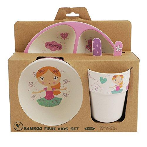 Bambus-Geschirr-Set für Kinder, runder Bambusteller, Kinder-Besteck, Bambus-Schale, Kinderbecher, umweltfreundlich, BPA-frei und spülmaschinenfest, 5-teilig Twinkle Fairy