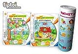 Ravensburger tiptoi  Bücher | Erste Zahlen + Erstes Englisch Buch + Buchstaben Lern-Poster mit Tiere auf Englisch - Mein Lern-Spiel-Abenteuer