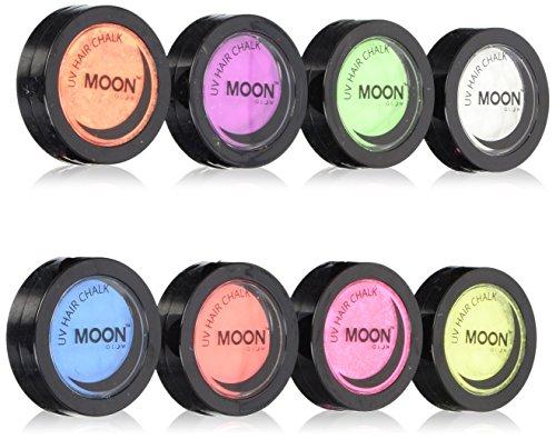 Moon Glow -Neon-UV-Haarkreide3.5gSet mit 8 Farben-ein spektakulär glühender Effekt bei UV- und Schwarzlicht!