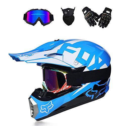K.D. Adult Off Road Helmet DOT Dirt Bike Motocross ATV Motorcycle Offroad/Off-Road Brille/Sturm Mask/Riding Gloves-7-Stil,SkyBlue,L (E-bike Sturm)