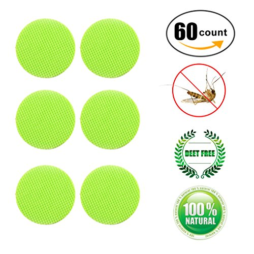 Wanfei Mosquito Patch 60 Count Insect Bonus Repellent Deet-Free Patches Anti-Mücken Aufkleber-Patch Sticker All Natural Citronella Oil Protection Perfect for the Family Kinder
