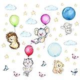 nikima - 123 Wandtattoo niedliche Tiere mit Luftballons Igel Katze Maus Bär Elefant - in 6 Größen - Bezaubernde Kinderzimmer Sticker Aufkleber Wanddeko Wandbild Junge Mädchen Baby - Größe 1250 x 700 mm