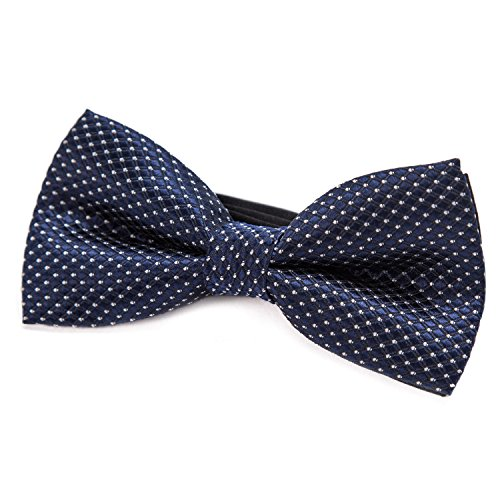 DonDon Edle silber gepunktete navyblaue Fliege bzw. Schleife mit Haken - bereits gebunden und verstellbar (Und Tie Schwarz Silber Bow)