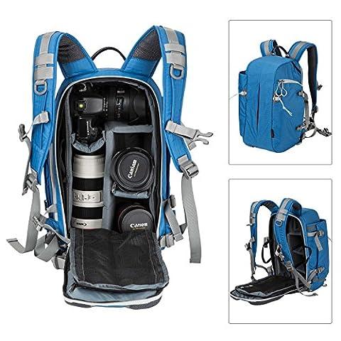 Sac à dos appareil photo, Pbreack Sac à dos Caméra vidéo étanche randonnée housse sacoche anti-choc (Bleu)