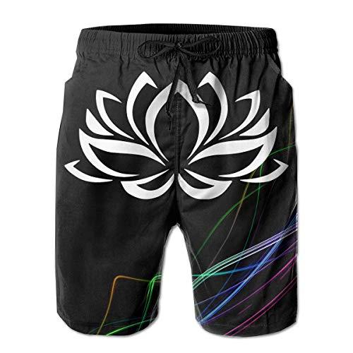 Lotus Flower Herren Boardshorts Badehose Beachwear Athletic Gym Beach Trunks M