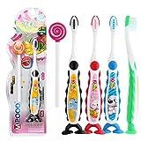 Yiwa Kinder Mundreinigungs-Set, weiche Zahnbürste und Zungen-Beschichtung, Kratzreiniger-Set, süßes Design, seidig weiche Borsten, Mundpflege-Werkzeug zufällige Farbe