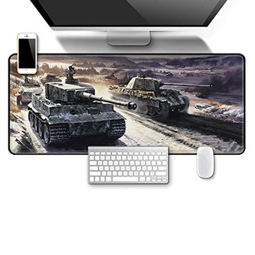 JINYIJUN Mauspad, übergroß, Militär-Krieg, Tastatur, Verdickungsschloss, Panzerwelt, Computer-Schreibtischunterlage, 70 x 30 cm, 12, 70 * 30cm
