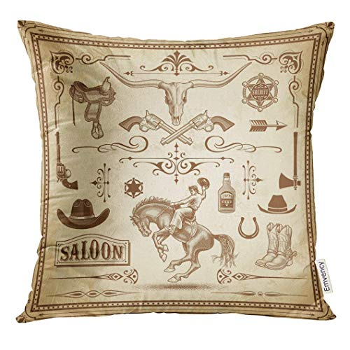 Cupsbags Throw Pillow Cover Brown Old Collection of Wild West with Frames Rulers Corner Ornaments and Clip Arts Rodeo Decorative Pillow Case Home Decor Square 18x18 Inches Pillowcase