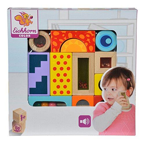 Eichhorn 100002240 - Color Holz-Soundbausteine, 12-teilig, Holz bunt bedruckt - Klangbausteine (Hand-auge-koordination Spielzeug)