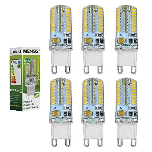 MENGS® 6 Stück G9 3W LED Licht Birne 64x 3014 SMD LEDs LED Lampe Leuchtmittel mit Silikon Material (Kaltweiß 6000K, 300lm, 360º Abstrahlwinkel, AC 220-240V, Ø16 x 50mm) Energiespar licht -