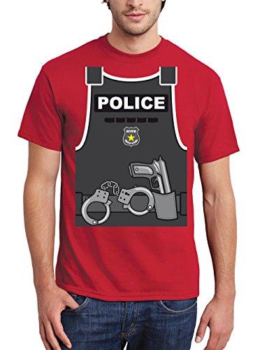 clothinx Herren T-Shirt Karneval Police Rot